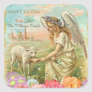 Happy easter lamb gifts t shirts art posters other gift happy easter typography vintage angel lamb square sticker negle Images