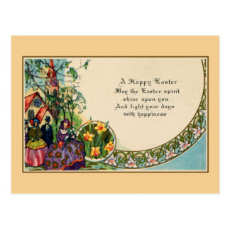 Happy Easter, victorian, people, church, verse Postcard