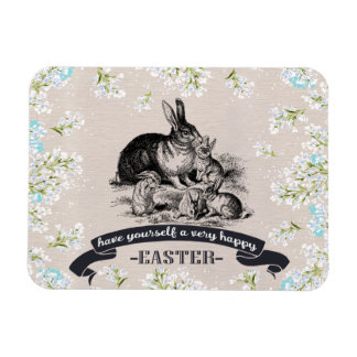 Happy Easter. Vintage Bunnies Easter Gift Magnets