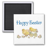 Happy Easter Vintage Chicks and Daisies Art Square Magnet