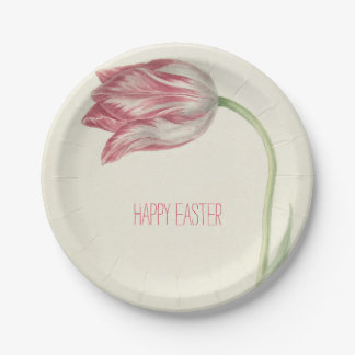 Happy Easter | Vintage Pink Tulip | Paper Plate