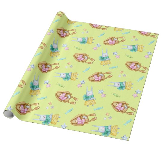Happy Easter Watercolor Bunnies Wrapping Paper