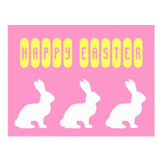 Happy Easter White Bunnies Postcard