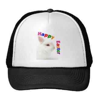Happy Easter White Bunny--Adorable Cap