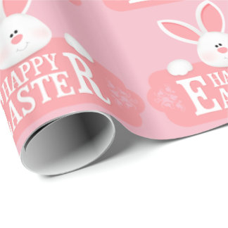 Happy Easter White Bunny Wrapping Paper