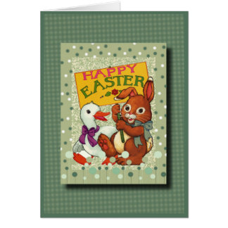 Happy Easter with Baby Bunny and Duck Greeting Card