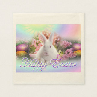 Happy Easter with Bunny Paper Napkin