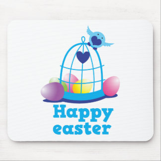 Happy easter with cute little bird and cage eggs mouse pads