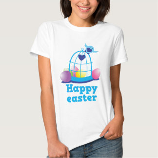 Happy easter with cute little bird and cage eggs tee shirt