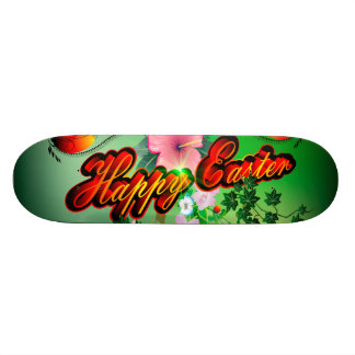 Happy easter with easter eggs, flowers custom skateboard