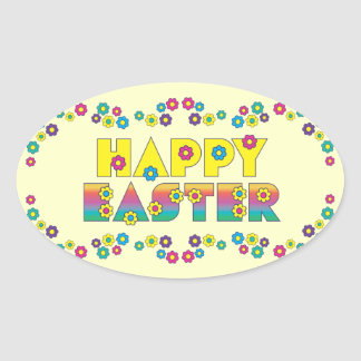 Happy Easter with Flowers Oval Sticker
