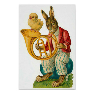 Victorian french easter gifts t shirts art posters other happy easter with french horn vintage poster negle Choice Image