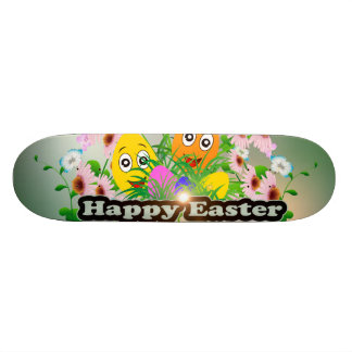 Happy easter with funny easter eggs skateboard decks