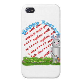Happy Easter with Lil' Robo-x9 Photo Frame Case For iPhone 4