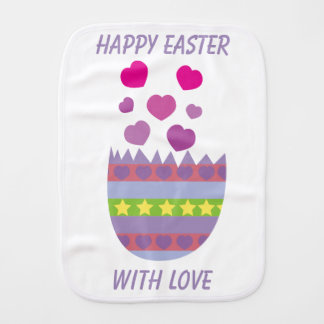 Happy Easter with Love Easter Egg Custom Burp Cloth
