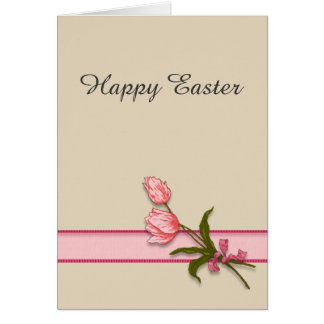 Happy Easter with Pink Tulips and Ribbon Card