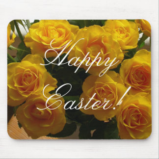 Happy Easter Yellow Rose Mouse Pad