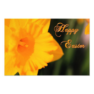 Happy Easter Yellow Spring Daffodil Flower Photo Print