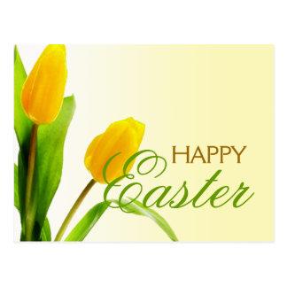 Happy Easter Yellow Tulips Postcard