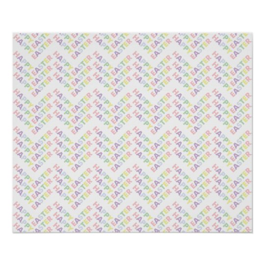 Happy Easter Zig Zag Pattern Poster