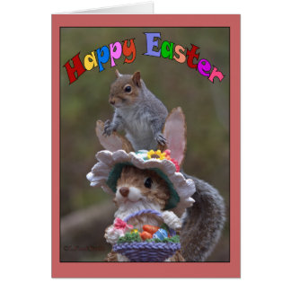 Happy EasterFeaturing cute, funny image of Squirre Greeting Card
