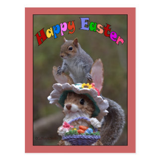 Happy EasterFeaturing cute, funny image of Squirre Postcard