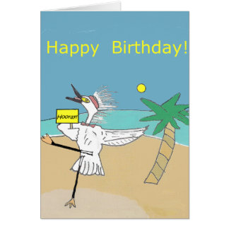 Happy Egret -- Happy Birthday Card