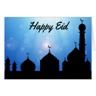 Happy Eid Mosque with Sunrays - Greeting Card