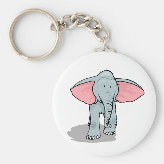 Happy Elephant Basic Round Button Key Ring