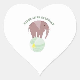 Happy Elephant Heart Sticker