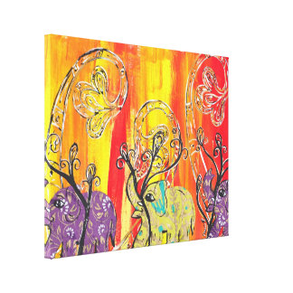Happy Elephant Parade Canvas Print