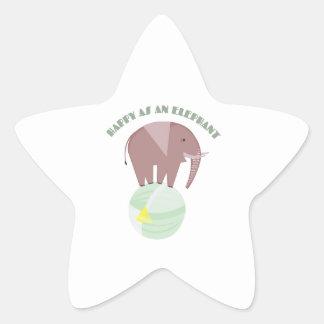 Happy Elephant Star Sticker