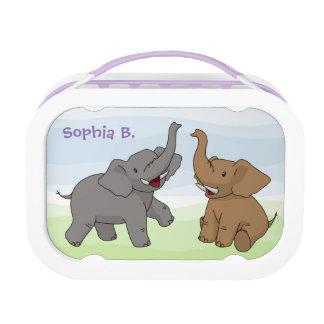 Happy Elephants Personalized Lunch Box