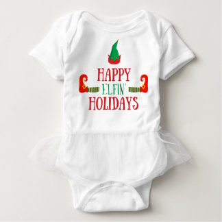 Happy Elfin Holidays Christmas Baby Bodysuit