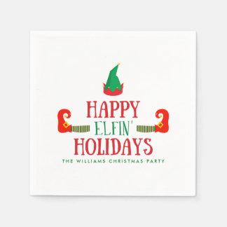 Happy Elfin Holidays Christmas Disposable Serviette