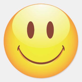Happy Emoticon Classic Round Sticker