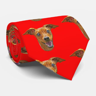 Happy Energetic Mixed Breed Dog Pattern on Red Tie