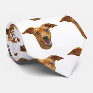 Happy Energetic Mixed Breed Dog Pattern on White Tie