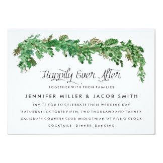 Happy Ever After Greenery Wedding Invitation