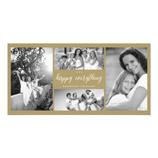 Happy Everything Script Photo Collage Holiday Card
