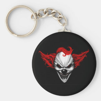 Happy Evil Clown Red Hair Basic Round Button Key Ring