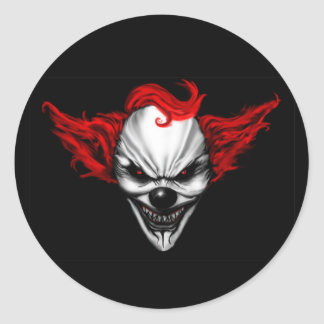 Happy Evil Clown Red Hair Classic Round Sticker