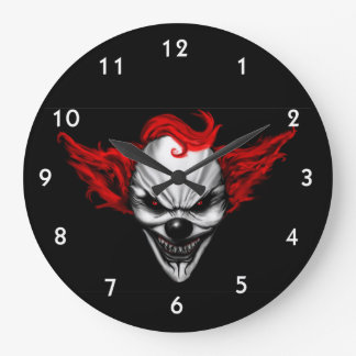 Happy Evil Clown Red Hair Wallclock