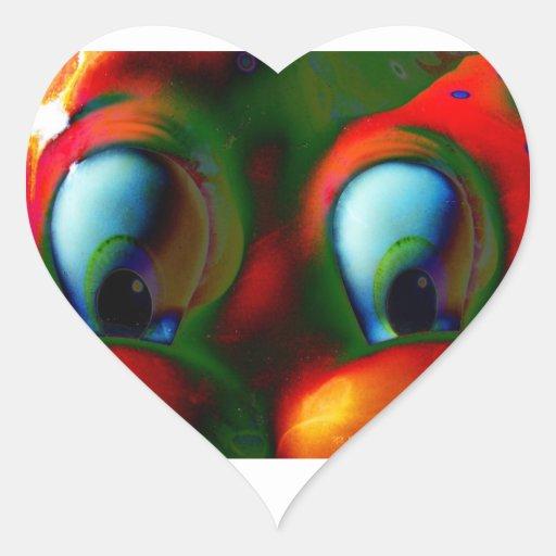 Happy Eyes Solarized Crazy Red Green Sticker