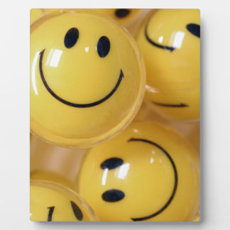 Happy face bouncy balls plaque