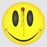 Happy Face Bullet Hole Round Sticker