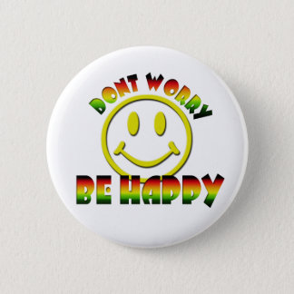 Happy Face - Don't Worry Be Happy Rastafari Colors 6 Cm Round Badge