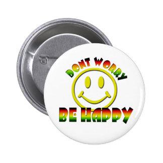 Happy Face - Don't Worry Be Happy Rastafari Colors 6 Cm Round Badge