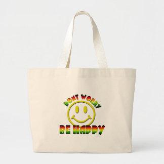 Happy Face - Don't Worry Be Happy Rastafari Colors Jumbo Tote Bag