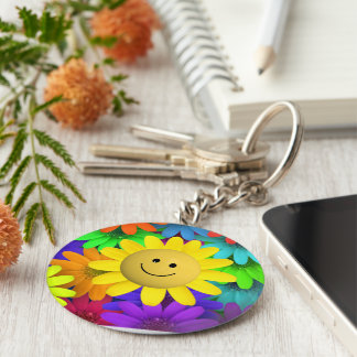 Happy face Flower Keychains